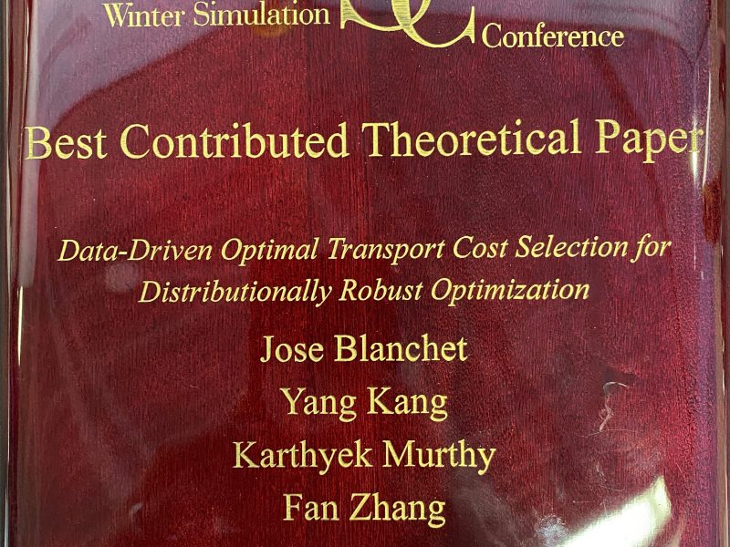Congratulations to Prof. Jose Blanchet and Yang Kang for receiving the best contributed theory paper award for the Winter Simulation Conference at DC.